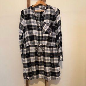Flannel Dress with Drawstring Waist